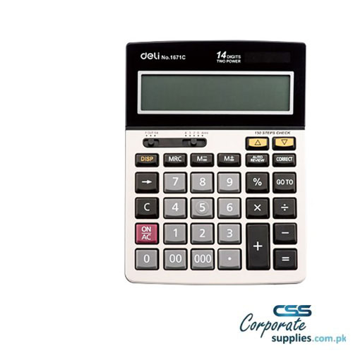 Deli Electronic 1671C Calculator 12 Digit Large Display Dual Power Metal Face Plate